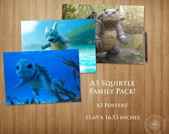 Squirtle Family Pack A3 Poster