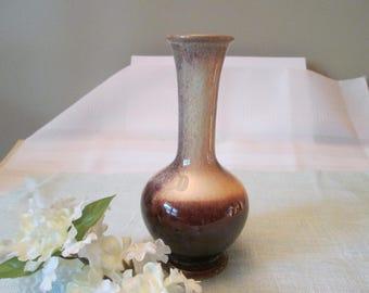Vintage Brown Drip Vase, Dripware, Bud Vase, Craft Supply, Floral Vase, Home Decor