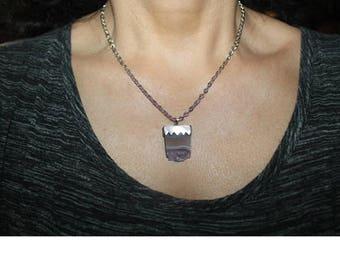 Raw Amethyst Druzy Slice Pendant, Amethyst stone necklace, Amethyst charm, Druzy stone necklace, February Birthstone