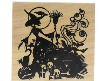 Inkadinkado Halloween Witch Brew Silhouette Cauldron Wooden Rubber Stamp