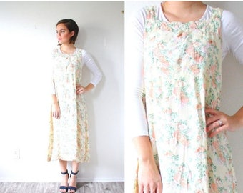 40% OFF CHRISTMAS in JULY Vintage yellow floral summer maxi jumper dress // light yellow dress // floral sleeveless dress // boho spring flo