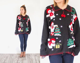 Vintage Ugly Christmas sweater // black Christmas cardigan // holiday sweater / snowman print / Christmas jumper / oversized christmas