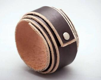 Leather Black Bracelet, Leather Wristband, Black Cuff, Cuff Bracelet, Custom Leather Wrap Bracelet, Leather Armband *Free Shipping*