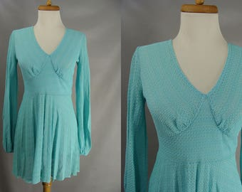 vintage 60s 70s Sands Hotel Inner Circle Las Vegas Casino Dress. Short Blue Mesh Dress. Pool Dress. Beach Dress. Mini Dress. Resort Dress. S