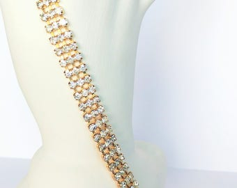 Clear Triple Rhinestone Rows Necklace Gold Tone Cup Chain Vintage Wedding Jewelry Jewellery Accessories Gift Guide Women