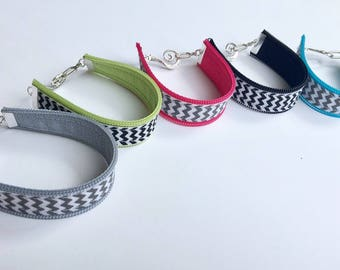 cuff bracelet. chevron and zipper bracelet. toggle clasp. choose from five color combos.