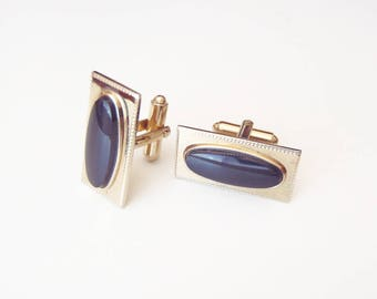 Vintage Gold-Toned Cuff Links w/ Black Cabochons Signed Shields - Light Gold Color Rectangles w/ Elongated Black Glass Ovals 1950s Cufflinks