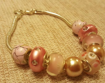 rose riot - a euro bead bracelet for those who like pink