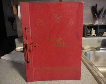 Vintage 1940s to 1950s Red and Gold Scrap Book Some Pictures of Shirley Temple Retro Handmade