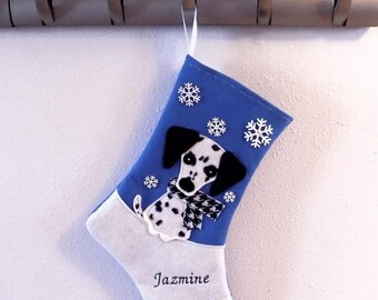 CHRISTMAS IN JULY Dalmatian Dog Personalized Christmas Stocking by Allenbrite Studio