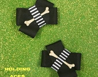 Bones and Stripes Hair Clip Set