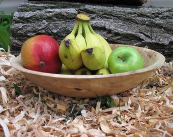 "Large Poplar Wood Bowl  11"" diameter  Bowl Dough Bowl Fruit Bowl Rustic wood Bowl Large wood bowl Wood Art Wood Sculpture Rustic"