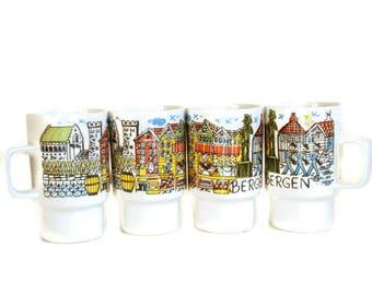 Norway Coffee Mugs, Vintage Pedestal Mugs, Figgjo Flint Norway, Inger Waage, Bergen Norway, Souvenir Mugs, Pottery Coffee Cups