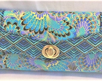 Elegant Turquoise Peacock Motif Colored Wallet, Clutch, Rectangular,  12 Ccard Slot Pockets, Zipper Change Pocket, Sturdy Construction,