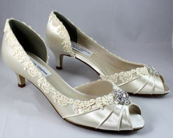 """Ivory lace heels 1.75""""-The Corrisa- low heel SALE Ready to ship Size 7.5"""