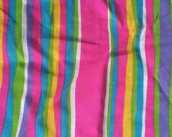 "Vintage 60s Vivid Mod Striped Cotton Organdy Fabric 3 yds x 45"" wide"
