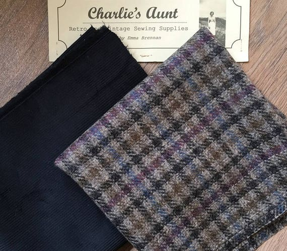 Two wide pieces of toning British fabric - one plaid wool tweed and one top quality corduroy in shades of grey