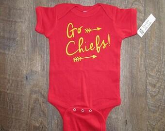 Super cute Chiefs baby onesie soft Football Kansas City love