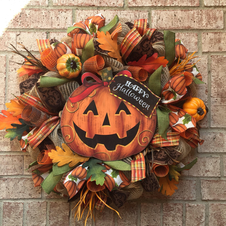 Pumpkin Front Door: Halloween Wreath Fall Wreath Pumpkin Wreath Front Door Decor