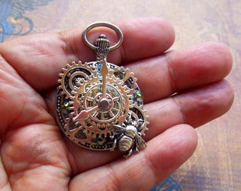 Steampunk Pin (P730) Faux Pocket Watch Brooch, Silver Gears and Bumble Bee, Swarovksi Crystals