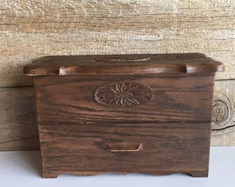 Lerner faux wood plastic storage box. Lerner organizer with drawer.