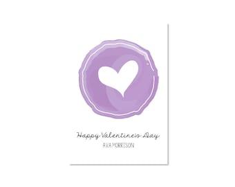 Watercolor Valentine Classroom Card