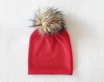 Red Faux Fur Pom Slouchy Beanie