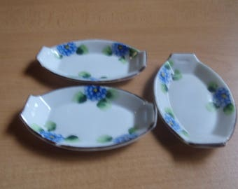 3 vintage open salt dip cellar blue flowers japan
