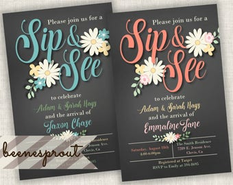 Sip and See Girl or Boy Baby Shower Meet and Greet Invitation