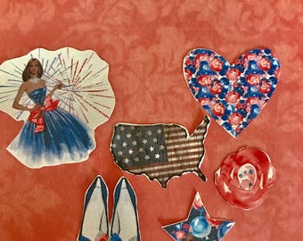 Land that I Love Diva huge lot of 14 4th of July decorative planner stickers. Will fit most planners