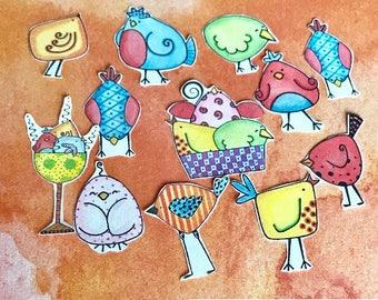Smart Chick Plan 12 planner stickers. Hand cut and glittered. Will for most planners