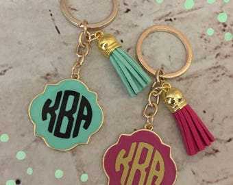 Personalized Quatrefoil Gold Keychain With Tassels - Teacher Gift - Bridesmaid Gifts - Tassels - Key Chain - Gold Key Chain - Bag Tag