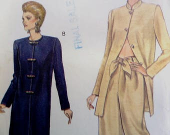 TIE FRONT PANTS Pattern • Vogue 8988 • Miss 18-22 • Wide Leg Pants • Long Loose Tunic • Sewing Patterns • Modern Patterns • WhiletheCatNaps