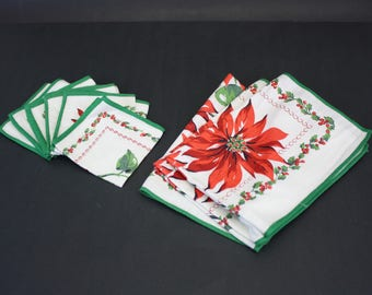 Vintage Christmas Poinsettia Table Linens, 3 Placemats & 6 Napkins (E8567)