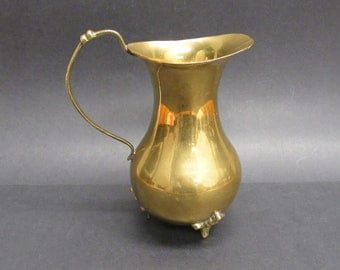 Vintage Small Brass Pitcher with Three Feet (E9935)