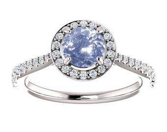 1.19ct unheated natural round blue sapphire engagement ring SKU RIANA 706