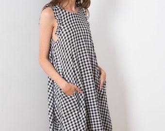 Picnic dress , plaid summer dress , sophisticated summer dress . midi length  cotton dress . Black & white . Gingham Dress