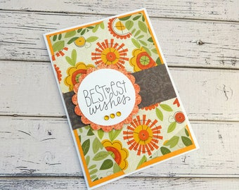 Birthday Card, Handmade Birthday Card, Stamped Card, Embellished Card, Card for Her, All Occasion Card, Blank Card, Bestest Wishes