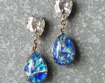Silver Mist Blue Opal Dangle Earrings Swarovski Crystal Silver Shade Vintage Blue German Glass Opal Hourglass Earrings Clip On Stud Post