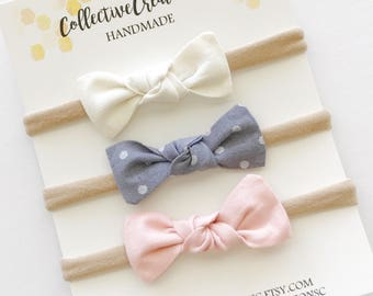 Bow Baby Headbands - Small Knot Bow Headbands or Clips - Set of Small Bow -Mini Knot Bow Set -  Newborn Bows - Tiny Baby Bows - Knot Bows
