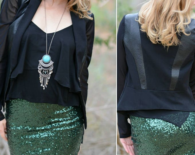 Forest Green Sequin Skirt - Stretchy, beautiful, fun mini skirt (Small, Medium, Large, XLarge) Runs snug. Ships asap!
