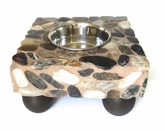 Stone Single Bowl Elevated Dog Feeder, dog water station, raised dog bowl, elegant doggie diner, small or medium or large dog bowl