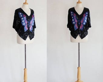 ON SALE Batwing Top / Butterfly Batwing Top / 80s Glam Top / Trophy Top / Sequined Blouse / 80s Party Top
