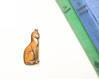 Vintage Brass Cat Brooch or Pin