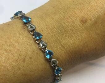 Handmade Genuine Blue Topaz marcasite 925 Sterling Silver Tennis Bracelet