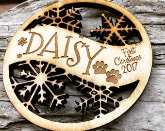 Daisy - Customizable Dog or Puppy's First Christmas Ornament - Engraved Birch Wood Ornament