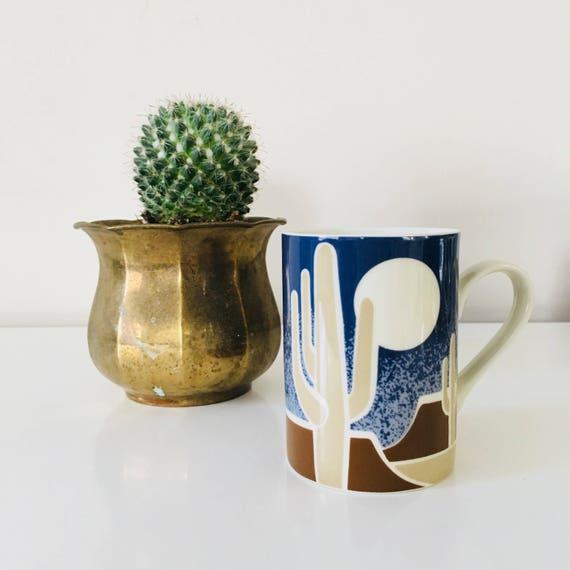 Cactus Coffee Mug Vintage Blue Brown Desert Scene Ceramic Cactus Cup Boho Bohemian Mug