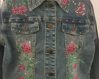 Decorated girls' Denim  Jeans Jacket 10-