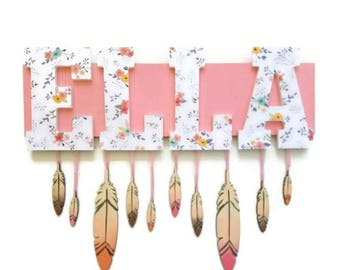Boho Floral and Feathers Nursery Letters Name Sign, Wooden Letters, Baby Girl Nursery