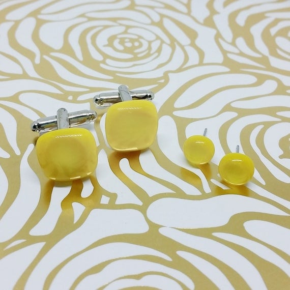 Sunflower Yellow Matching Glass Cuff Links and Earrings, Wedding, Prom or Formal Attire